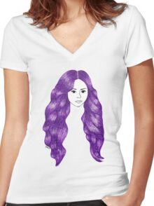 Purple Hair Girl Drawing Women's Fitted V-Neck T-Shirt