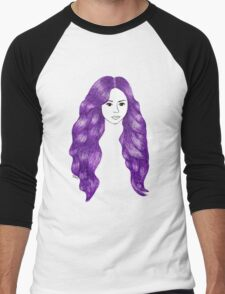 Purple Hair Girl Drawing Men's Baseball ¾ T-Shirt
