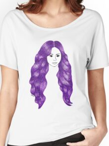 Purple Hair Girl Drawing Women's Relaxed Fit T-Shirt