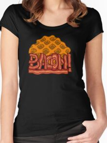 Waffle bacon logo Women's Fitted Scoop T-Shirt