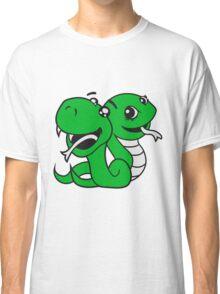 snakes 2 team few buddies sweet little cute baby child snake comic cartoon girl Classic T-Shirt