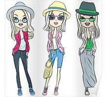 Fashion hipster girls in hats Poster