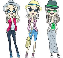 Fashion hipster girls in hats Photographic Print