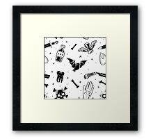 A Few of My Macabre Things (on white) Framed Print