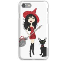 Girl witch with black cat iPhone Case/Skin