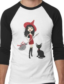 Girl witch with black cat Men's Baseball ¾ T-Shirt