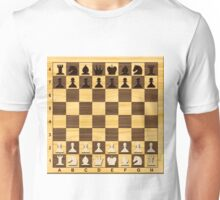 Wooden Chess board with figures.  Unisex T-Shirt
