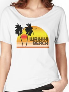 WAIKIKI BEACH HAWAII SUNSET OCEAN SURFING SURF VINTAGE OLD SCHOOLS 70'S Women's Relaxed Fit T-Shirt