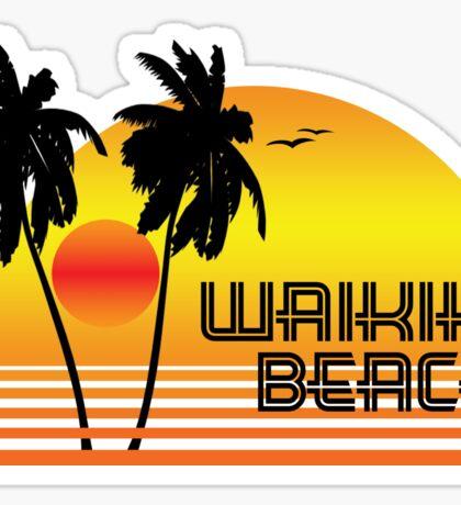 WAIKIKI BEACH HAWAII SUNSET OCEAN SURFING SURF VINTAGE OLD SCHOOLS 70'S Sticker