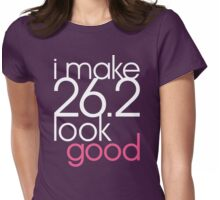 i make 26.2 look good [women's wht/pnk] Womens Fitted T-Shirt
