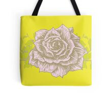 Pink Rose on Yellow Background Tote Bag