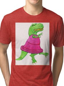 T-Rex Dancing in a Tutu Tri-blend T-Shirt