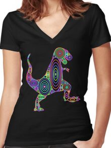 Colorful Tyrannosaurus Circles Women's Fitted V-Neck T-Shirt