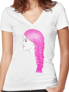 Pink Hair Braid Girl Drawing Women's Fitted V-Neck T-Shirt