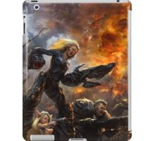 Parents are escorting their child to the postapocalyptical kindergarten  iPad Case/Skin