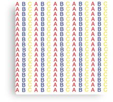 Primary Color ABC Pattern Canvas Print