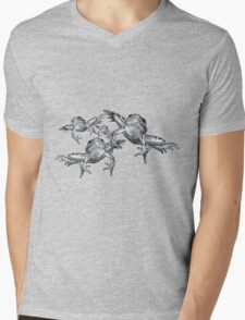 Leaping Frogs, Original Pencil Drawing Mens V-Neck T-Shirt