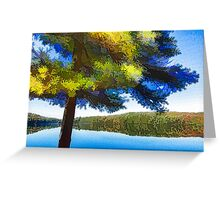Sun and Shade Pine Tree On the Lake - Colorful Autumn Impressions Greeting Card