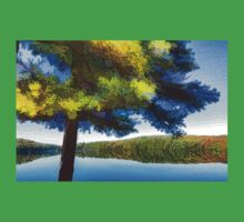 Sun and Shade Pine Tree On the Lake - Colorful Autumn Impressions One Piece - Short Sleeve