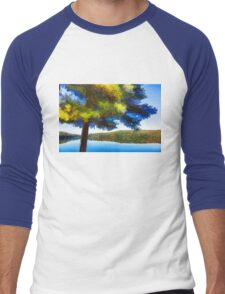 Sun and Shade Pine Tree On the Lake - Colorful Autumn Impressions Men's Baseball ¾ T-Shirt