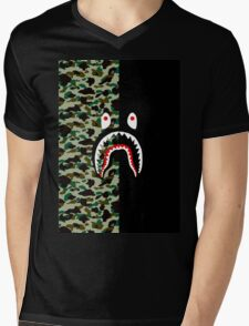 APE X SHARK Mens V-Neck T-Shirt