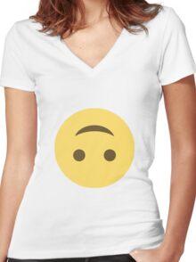 Smile emoji - upside down Women's Fitted V-Neck T-Shirt