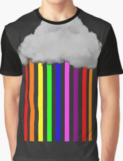 Falling Rainbows - Abstract Cloud and rain Graphic T-Shirt