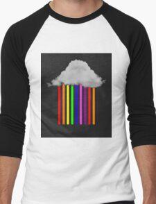 Falling Rainbows - Abstract Cloud and rain Men's Baseball ¾ T-Shirt