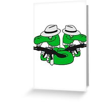 2 gangster team buddies crew mafia violence weapon machine gun rattlesnake poisonous evil dangerous comic cartoon snake Greeting Card