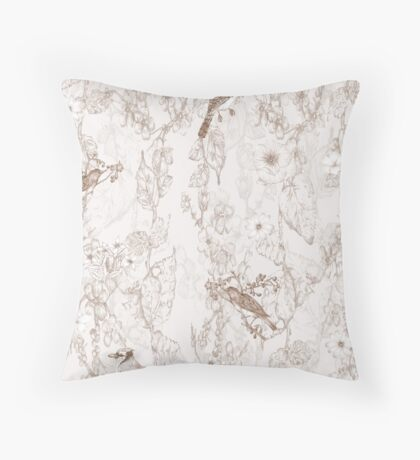Bird Menagerie [Sepia] Throw Pillow
