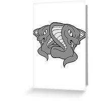 2 friends team party duo crew cobra cool evil dangerous rattlesnake bite poisonous comic cartoon Greeting Card