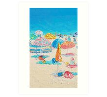 Beach painting  - A Crowded Beach  Art Print