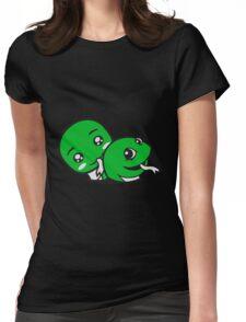 2 buddies couple love couple face head sweet cute little baby child snake comic cartoon kawaii Womens Fitted T-Shirt