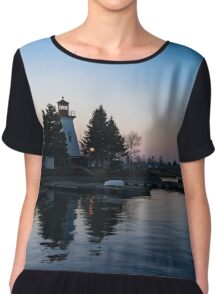 Waiting for Sunrise - Blue Hour at the Lighthouse, Infused with Soft Pink Chiffon Top
