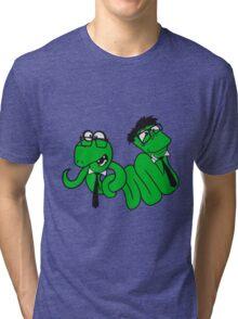2 brothers buddies team crew glasses snakes bookworm nerd geek ties hornbrille smart funny cool comic cartoon Tri-blend T-Shirt