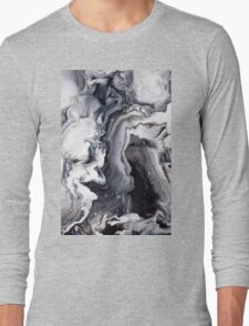 Marble Design Black and White Long Sleeve T-Shirt