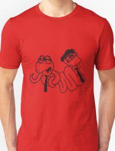 2 brothers buddies team crew glasses snakes bookworm nerd geek ties hornbrille smart funny cool comic cartoon Unisex T-Shirt