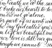 In Loving Memory quote in calligraphy Sticker