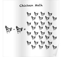 Chicken Math (Square) Woodcut Poster
