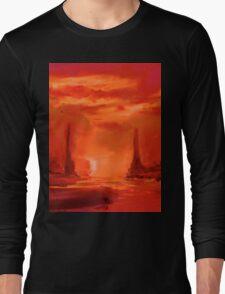 Alien Sunset Landscape Scifi Long Sleeve T-Shirt