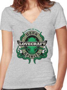 Lovecraft Dark Spirits - light print Women's Fitted V-Neck T-Shirt