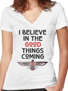 """Nahko and Medicine for the People - """"I believe in the good things coming"""" v2 Women's Fitted V-Neck T-Shirt"""