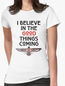 "Nahko and Medicine for the People - ""I believe in the good things coming"" v2 Womens Fitted T-Shirt"