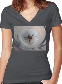 Large Agressive Spiders on front porch. Adelaide hills. Women's Fitted V-Neck T-Shirt