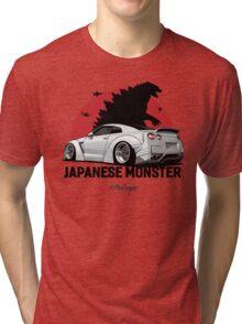 Nissan GTR. Japanese Monster (white) Tri-blend T-Shirt