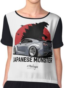 Nissan GTR. Japanese Monster (grey) Chiffon Top