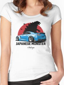 Nissan GTR. Japanese Monster (blue) Women's Fitted Scoop T-Shirt