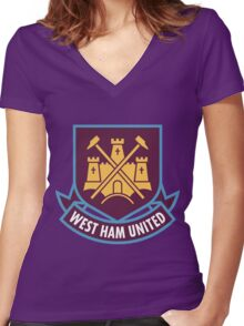 West Ham Logo Women's Fitted V-Neck T-Shirt