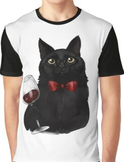 Wine Cat Graphic T-Shirt