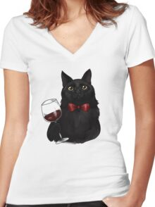 Wine Cat Women's Fitted V-Neck T-Shirt